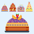 Wedding cake pie sweets dessert bakery flat simple style pastry homemade delicious vector illustration.