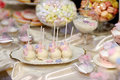 Wedding cake pops in pink and purple Royalty Free Stock Photo