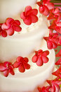 Wedding Cake with red flowers Royalty Free Stock Photo