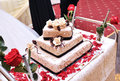Wedding cake with roses Stock Photo