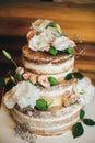 Wedding cake with roses whipped cream Royalty Free Stock Photo