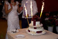 Wedding cake with sparklers beautiful Royalty Free Stock Photo