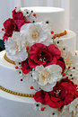 Wedding cake specially decorated detail with edible flowers Stock Image