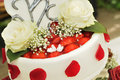 Wedding cake with strawberries roses and doves Royalty Free Stock Photo
