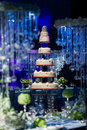 Wedding cake a tiered at Royalty Free Stock Photos