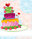 Wedding cake for wedding invitations or announcements Stock Images