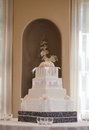 Wedding cake with white flowers Royalty Free Stock Images