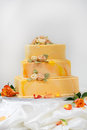 Wedding cake in yellow and orange Stock Photography