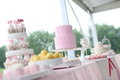 Wedding cakes tiered at outdoor party Stock Photo