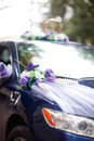 Wedding car beautiful bouquet on the decorated Royalty Free Stock Photo
