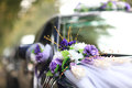 Wedding car beautiful bouquet on the decorated Stock Image