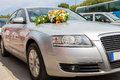 Wedding car decoration for with big bouquet Royalty Free Stock Photo