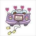 Wedding car,just married,