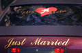 Wedding car with just married sign Royalty Free Stock Photo