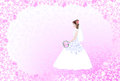 Wedding card with bride on pink openwork background an vintage style Royalty Free Stock Photo