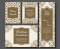 Wedding card collection with mandala. Template of invitation card. Decorative greeting invitaion design with vintage Islam, arabic Royalty Free Stock Photo