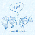 Wedding card with cute fishes