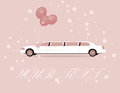 Wedding card pink with biautiful white limousine Stock Photography