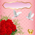 Wedding card with roses and rings pigeons Stock Photography