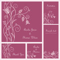 Wedding card set or invitation doodle flowers style Royalty Free Stock Photography
