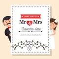 wedding card vintage mr and mrs design graphic