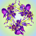 Wedding card with violet iris flower wreath background. Vector illustration