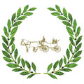 Wedding carriage in laurel wreath Royalty Free Stock Photo