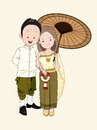 Wedding cartoon vector, bride and groom in thai traditional suit