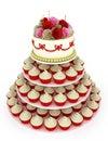 Wedding celebration cake with cupcakes Royalty Free Stock Photo