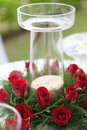 Wedding ceremony beautiful area decorated with red roses Royalty Free Stock Photography