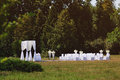 Wedding ceremony in garden Stock Photos