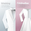 Wedding Ceremony Invitation Card. Paper Cut Out illustration