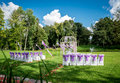 Wedding ceremony outdoors empty chairs Stock Images