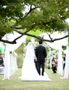 Wedding ceremony in park asian Stock Photo