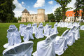 Wedding ceremony places with white chairs Stock Photos