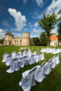 Wedding ceremony places with white chairs Stock Photography