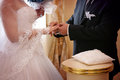 Wedding ceremony vows and rings Stock Image