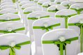 Wedding chair chairs with flowers and green ribbon Royalty Free Stock Photos