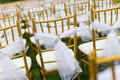 Wedding chairs with white ribbon Royalty Free Stock Images