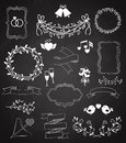 Wedding chalkboard Banners and Ribbons set Royalty Free Stock Photo