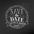 Wedding chalkboard card save the date in Stock Photo