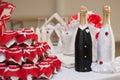 Wedding champagne bottle, Royalty Free Stock Photo