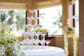 Wedding champagne glasses at an indoor Stock Photo