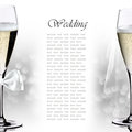Wedding champagne glasses on the light background Stock Photo