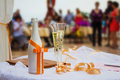 Wedding champagne glasses wedding celebration of love at outdoor for a Stock Images