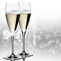Wedding champagne glasses on the white background Royalty Free Stock Images
