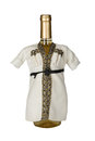 Wedding champaign bottles dressed as ethnic groom Royalty Free Stock Photography