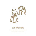 Wedding cocktail dress, men suit icon, clothing shop line logo. Flat sign for apparel collection. Logotype for laundry