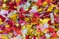 Wedding confetti background after the celebration Royalty Free Stock Photo
