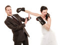 Wedding couple bride boxing groom conflict bad relationship funny married fighting wife showing her husband who s boss angry women Royalty Free Stock Image